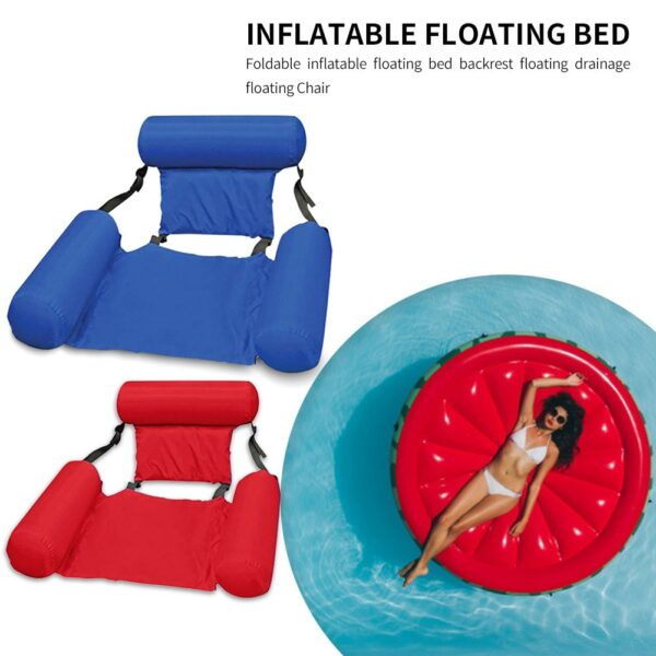 PVC Summer Inflatable Foldable Floating Row Swimming Pool Water Hammock Air Mattresses Bed Beach Water Sports Lounger Chair