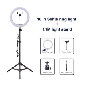 4.6 inch 3 Modes USB Dimmable LED Ring Vlogging Video Light MDYHMC AYSMG Round Base Desktop Mount 18cm-28cm Adjustable Height