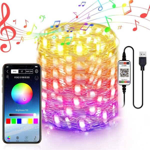 Christmas Tree Decoration LED Lights Smart Bluetooth Personalized String Lights Customized App Remote Control Lights Dropship
